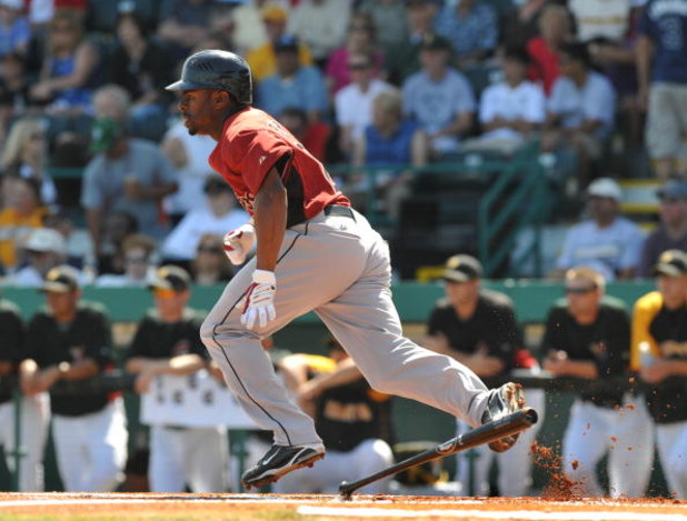 BRADENTON, FL - MARCH 8:  Outfielder Michael Bourn #21 of the Houston Astros bats against the Pittsburgh Pirates March 8, 2009 at McKechnie Field in Bradenton, Florida.  (Photo by Al Messerschmidt/Getty Images)