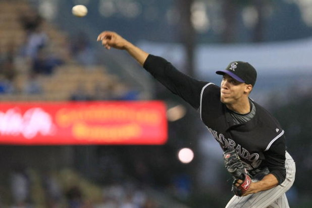 LOS ANGELES, CA - AUGUST 19:  Ubaldo Jimenez #38 of the Colorado Rockies pitches against the Los Angeles Dodgers in the first inning during the game at Dodger Stadium August 19, 2008 in Los Angeles, California.  (Photo by Jonathan Moore/Getty Images)