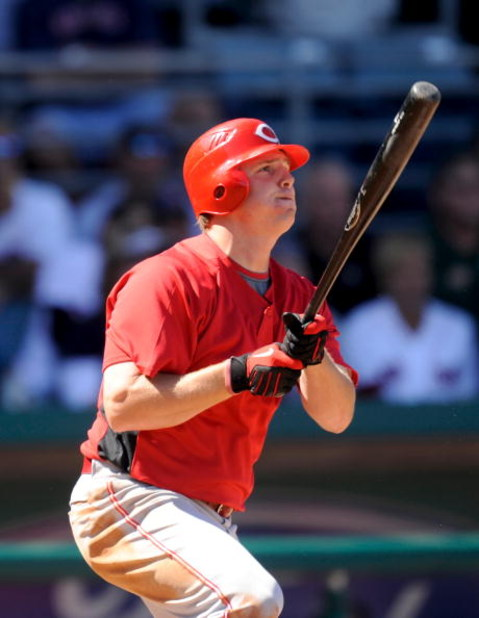 FORT MYERS, FL - MARCH 03: Jay Bruce #32 of the Cincinnati Reds hits a home run against the Boston Red Sox at the City of Palms Park on March 3, 2009 in Fort Myers, Florida (Photo by Rob Tringali/Getty Images)