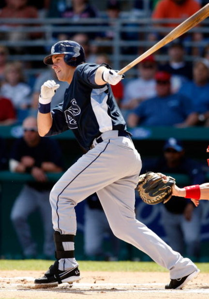 FORT MYERS, FL - MARCH 08:  Third baseman Evan Longoria #3 of the Tampa Bay Rays fouls off a pitch against the Boston Red Sox during a Grapefruit League Spring Training Game at City of Palms Park on March 8, 2009 in Fort Myers, Florida.  (Photo by J. Meri