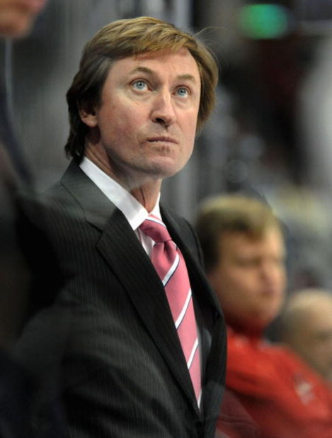 DENVER - JANUARY 2: Managing Partner, Alternate Governor and Head Coach Wayne Gretzky of the Phoenix Coyotes looks on from the bench during the game against the Colorado Avalanche at the Pepsi Center on January 02, 2008 in Denver, Colorado. (Photo by Stev