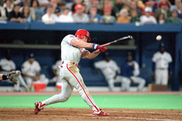 TORONTO - OCTOBER 16:  Lenny Dykstra #4 of the Philadelphia Phillies hits a pitch during Game one of the 1993 World Series against the Toronto Blue Jays at Skydome on October 16, 1993 in Toronto, Ontario, Canada. The Blue Jays defeated the Phillies 8-5. (