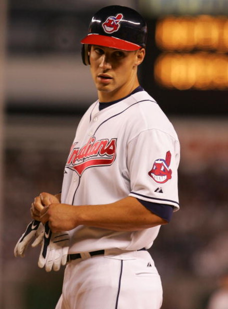 NEW YORK - JULY 15:  American League All-Star  Grady Sizemore #24 of the Cleveland Indians after scoring the tieing run in the bottom of the eighth inning during the 79th MLB All-Star Game at Yankee Stadium on July 15, 2008 in the Bronx borough of New Yor