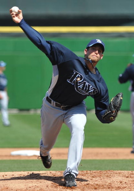 CLEARWATER, FL - FEBRUARY 28:  Pitcher Mitch Talbot #51 of the Tampa Bay Rays starts against the Philadelphia Phillies February 28, 2009 at Bright House Field in Clearwater, Florida.  (Photo by Al Messerschmidt/Getty Images)