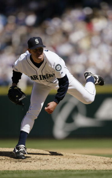 SEATTLE - APRIL 22:  Pitcher Jaime Moyer #50 of the Seattle Mariners on the mound during the game against the Oakland Athletics on April 22, 2004 at Safeco Field in Seattle, Washington. The A's won 8-2. (Photo by Otto Greule Jr/Getty Images)