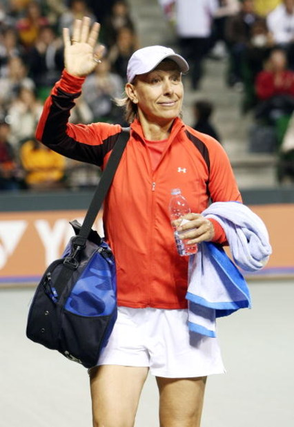 TOKYO - MARCH 15:  Martina Navratilova waves to the audience after playing against Steffi Graf during the Dream Match 2008 at Ariake Colosseum on March 15, 2008 in Tokyo, Japan. Dream Match 2008 is an exhibition where 3 tennis players, Steffi Graf, Kimiko