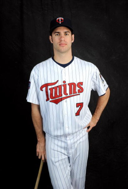 FORT MYERS, FL - FEBRUARY 23: Joe Mauer #7 of the Minnesota Twins poses during photo day at the Twins spring training complex on February 23, 2008 in Fort Myers, Florida. (Photo by Rob Tringali/Getty Images)