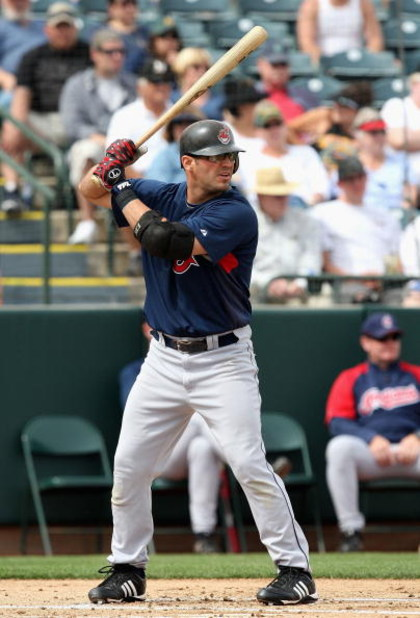 TEMPE, AZ - MARCH 08:  Ryan Garko #25 of the Cleveland Indians bats against the Oakland Athletics during the spring training game at Phoenix Municipal Stadium on March 8, 2009 in Tempe, Arizona. The A's defeated the Indians 8-5.  (Photo by Christian Peter