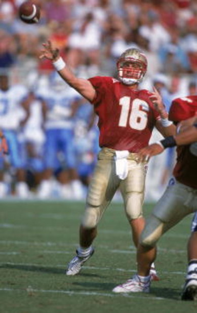16 Sep 2000:  Quarterback Chris Weinke #16 of the Florida State Seminoles passes the ball during the game against the North Carolina Tar Heels at the Doak Cambell Stadium in Tallahassee, Florida. The Seminoles defeated the Tar Heels 63-14.Mandatory Credit