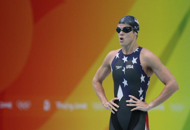 BEIJING - AUGUST 16: Dara Torres of the United States prepares to compete in the Women's 50m Freestyle Semifinal held at the National Aquatics Centre during Day 8 of the Beijing 2008 Olympic Games on August 16, 2008 in Beijing, China.  (Photo by Ezra Shaw
