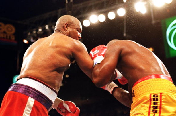 5 Nov 1994: George Foreman throws a punch during a fight against Michael Moorer in Las Vegas, Nevada.. Foreman defeated Moorer by a TKO in the 10th round. Mandatory Credit: Holly  Stein  /Allsport