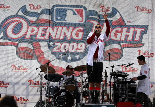 PHILADELPHIA - APRIL 05:  Bryen, the lead singer of Mr. Greengenes, sings outside of the stadium before the Philadelphia Phillies game against the Atlanta Braves on April 5, 2009 at Citizens Bank Park in Philadelphia, Pennsylvania. Today's game is the ope