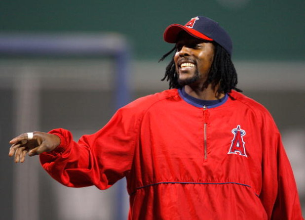 BOSTON - OCTOBER 6:  Vladimir Guerrero #27 of the of the Los Angeles Angels shares a laugh before game four of the American League Division Series against the Boston Red Sox at Fenway Park on October 6, 2008 in Boston, Massachusetts. (Photo by Jim Rogash/