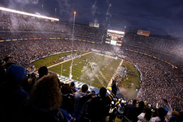 SAN DIEGO - JANUARY 03:  A view of pregame ceremonies prior to the Indianapolis Colts against the San Diego Chargers in the AFC Wild Card Game on January 3, 2009 at Qualcomm Stadium in San Diego, California.  (Photo by Robert Meggers/Getty Images)
