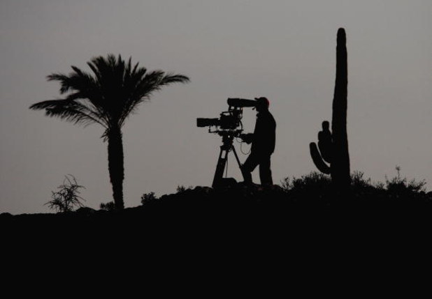 DOHA, QATAR - JANUARY 23:  A TV cameraman films play during the second round of  the Commercialbank Qatar Masters at Doha Golf Club on January 23, 2009 in Doha, Qatar.  (Photo by Andrew Redington/Getty Images)