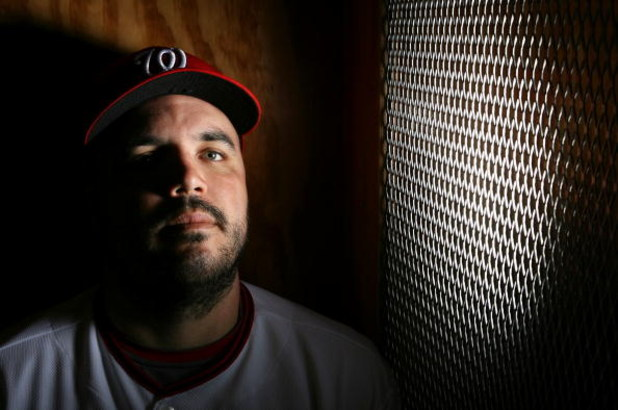 VIERA, FL - FEBRUARY 21:  Nick Johnson #24 of the Washington Nationals poses during photo day at Roger Dean Stadium on February 21, 2009 in Viera, Florida.  (Photo by Doug Benc/Getty Images)