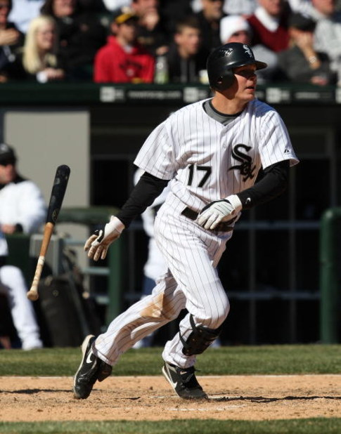 CHICAGO - APRIL 7: Chris Getz #17 of the Chicago White Sox hits a single in the 8th inning against the Kansas City Royals during the Opening Day game on April 7, 2009 at U.S. Cellular Field in Chicago, Illinois. The White Sox defeated the Royals 4-2. (Pho