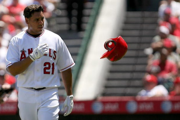 ANAHEIM, CA - AUGUST 09:  Juan Rivera #21 of the Los Angeles Angels of Anaheim reacts after striking out in the third inning during the game against the New York Yankees on August 9, 2008 at Angels Stadium in Anaheim, California.  (Photo by Jonathan Moore