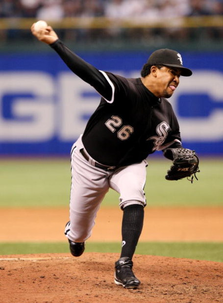 ST PETERSBURG, FL - OCTOBER 02:  Relief pitcher Octavio Dotel #26 of the Chicago White Sox pitches against the Tampa Bay Rays in Game 1 of the American Leaugue Divisional Series at Tropicana Field on October 2, 2008 in St. Petersburg, Florida. The Rays de