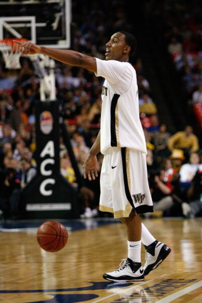 ATLANTA - MARCH 13:  Jeff Teague #0 of the Wake Forest Demon Deacons dribbles against the Maryland Terrapins during the Quarterfinals of the 2009 ACC Men's Basketball Tournament on March 13, 2009 at the Georgia Dome in Atlanta, Georgia.  (Photo by Kevin C