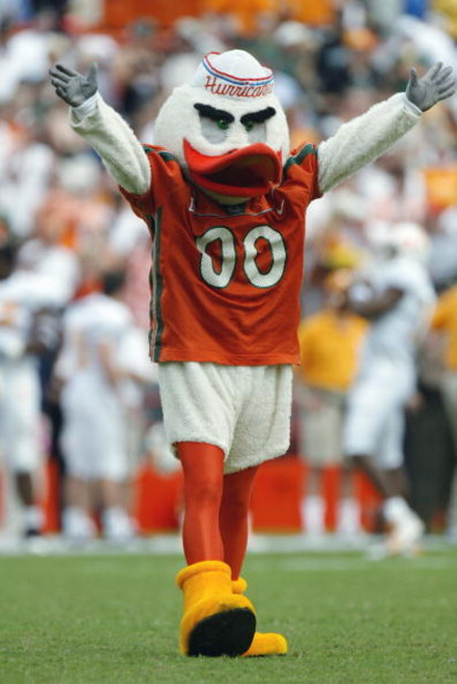 MIAMI - NOVEMBER 8:  The University of Miami Hurricanes mascot, Sebastian the Ibis, excites the fans during the game against the University of Tennessee Volunteers at the Orange Bowl on November 8, 2003 in Miami, Florida. Tennessee defeated Miami 10-6. (P