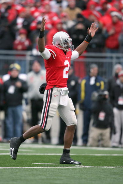 COLUMBUS, OH - NOVEMBER 22:  Quarterback Terrelle Pryor #2 of the Ohio State Buckeyes celebrates during the Big Ten Conference game against the Michigan Wolverines at Ohio Stadium on November 22, 2008 in Columbus, Ohio.  (Photo by Andy Lyons/Getty Images)