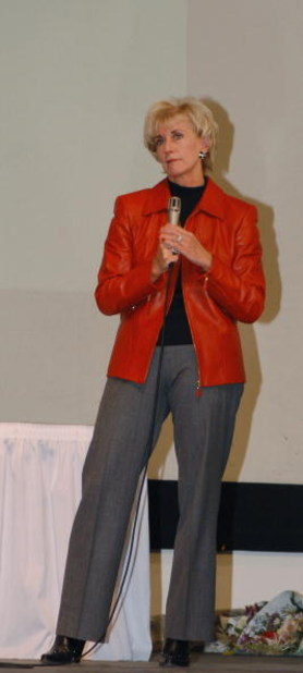 GARDEN CITY, NY - MARCH 3:  World Wrestling Entertainment (WWE) CEO Linda McMahon speaks during the 'Professor For A Day' event at Nassau Community College March 3, 2003 in Garden City, New York. McMahon who lectured a group of sports marketing majors on