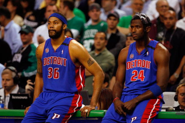 BOSTON - MAY 20:  Rasheed Wallace #36 and  Antonio McDyess #24 of the Detroit Pistons look on during a break in play against the Boston Celtics during Game One of the 2008 NBA Eastern Conference finals at the TD Banknorth Garden on May 20, 2008 in Boston,