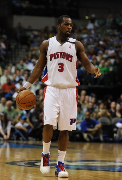 DALLAS - MARCH 17:  Rodney Stuckey of the Detroit Pistons during play against the Dallas Mavericks on March 17, 2009 at American Airlines Center in Dallas, Texas.  NOTE TO USER: User expressly acknowledges and agrees that, by downloading and/or using this