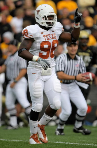 BOULDER, CO - OCTOBER 04:  Brian Orakpo #98 of the Texas Longhorns leaves the field between plays against the Colorado Buffaloes at Folsom Field on October 4, 2008 in Boulder, Colorado. Texas defeated Colorado 38-14.  (Photo by Doug Pensinger/Getty Images