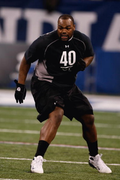 INDIANAPOLIS, IN - FEBRUARY 21:  Offensive lineman Michael Oher of Mississippi runs in practice drills during the NFL Scouting Combine presented by Under Armour at Lucas Oil Stadium on February 21, 2009 in Indianapolis, Indiana. (Photo by Scott Boehm/Gett