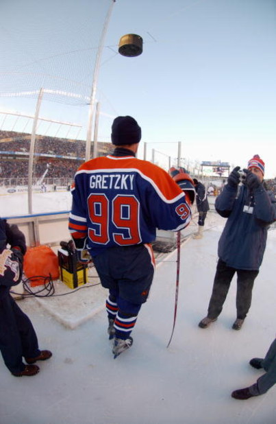 EDMONTON, CANADA - NOVEMBER 22:  Wayne Gretzky #99 of the Edmonton Oilers poses for a photo during the Molson Canadien Heritage Classic against the Montreal Canadiens on November 22, 2003 at Commonwealth Stadium in Edmonton, Canada. The Oilers defeated th