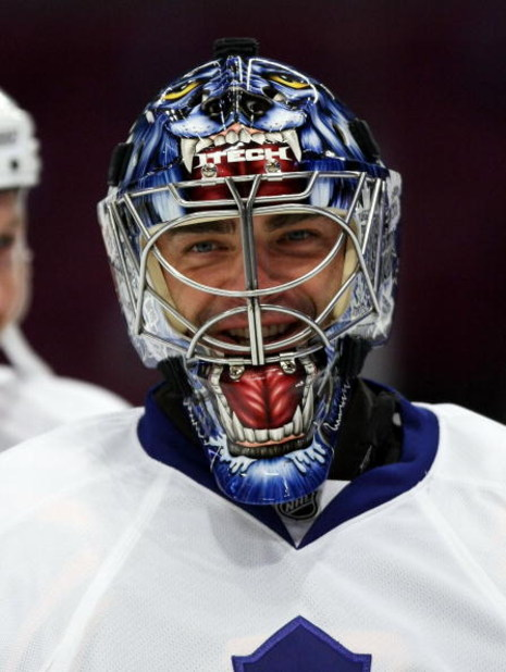 NEW YORK - OCTOBER 17: Goaltender Curtis Joseph #31 of the Toronto Maple Leafs skates during warmups prior to his game against the New York Rangers on October 17, 2008 at Madison Square Garden in New York City. (Photo by Bruce Bennett/Getty Images)