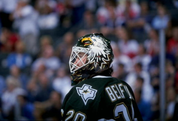 15 Apr 1998:  Goaltender Ed Belfour of the Dallas Stars in action during a game against the Detroit Red Wings at the Reunion Arena in Dallas, Texas. The Stars defeated the Red Wings 3-1. Mandatory Credit: Stephen Dunn  /Allsport