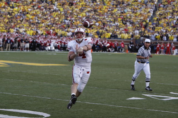 ANN ARBOR, MI - SEPTEMBER 27:  Allan Evridge #4 of the Wisconsin Badgers passes during the game against the Michigan Wolverines on September 27, 2008 at Michigan Stadium in Ann Arbor, Michigan. (Photo by Gregory Shamus/Getty Images)