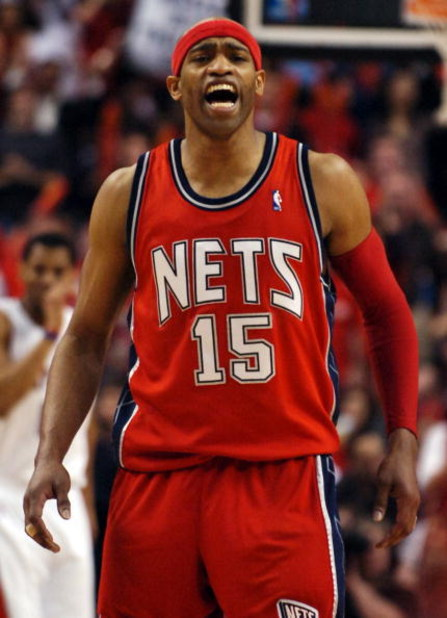 TORONTO- MAY 1:  Vince Carter #15 of the New Jersey Nets yells in the closing seconds in Game Five of the Eastern Conference Quarterfinals during the 2007 NBA Playoffs at Air Canada Centre on May 1, 2007 in Toronto, Ontario, Canada . Raptors win 98-96. NO
