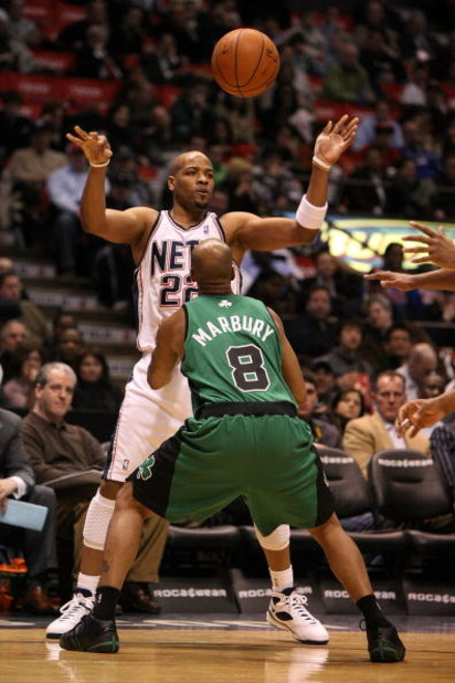 EAST RUTHERFORD, NJ - MARCH 04:  Jarvis Hayes #22 of the New Jersey Nets passes the ball against Stephon Marbury #8 of the Boston Celtics during their game on March 4, 2009 at The Izod Center in East Rutherford, New Jersey.  NOTE TO USER: User expressly a