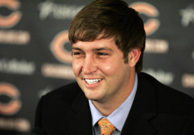 LAKE FOREST, IL - APRIL 3: Jay Cutler of the Chicago Bears is all smiles after being announced as their new quarterback during a press conference on April 3, 2009 at Halas Hall in Lake Forest, Illinois. (Photo by Jim Prisching/Getty Images)