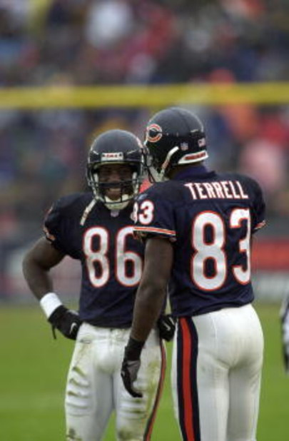 16 Dec 2001: Marty Booker #86 of the Chicago Bears jokes with teammate David Terrell #83 as they wait for a replay ruling against the Tampa Bay Buccaneers during the game at Soldier Field in Chicago, Illinois. The Bears won 27-3. DIGITAL IMAGE. Mandatory