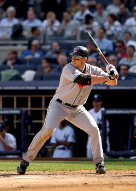 NEW YORK - APRIL 17:  Travis Hafner #48 of the Cleveland Indians bats against the New York Yankees at Yankee Stadium on April 17, 2009 in the Bronx borough of New York City.  (Photo by Ezra Shaw/Getty Images)
