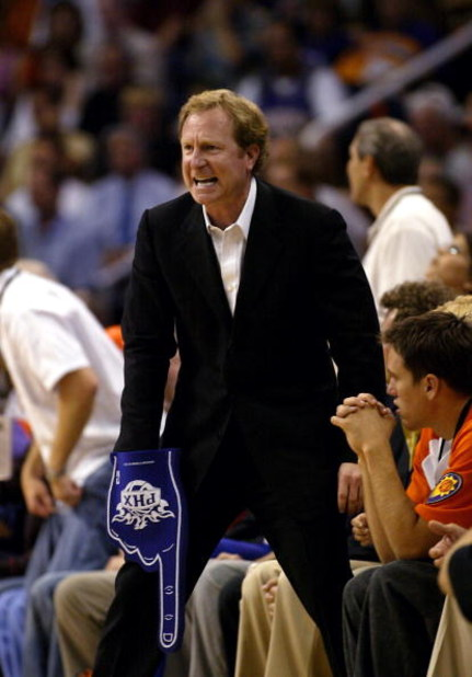 PHOENIX - MAY 18:  Owner Robert Sarver of the Phoenix Suns reacts as his team plays the Dallas Mavericks in Game five of the Western Conference Semifinals during the 2005 NBA Playoffs at America West Arena on May 18, 2005 in Phoenix, Arizona. The Suns won