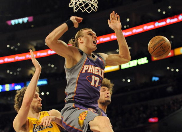 LOS ANGELES, CA - DECEMBER 10:  Louis Amundson #17 and Robin Lopez #15 of the Phoenix Suns try for a rebound with Pau Gasol #16 of the Los Angeles Lakers during the first half at the Staples Center on December, 10 2008 in Los Angeles, California.   NOTE T