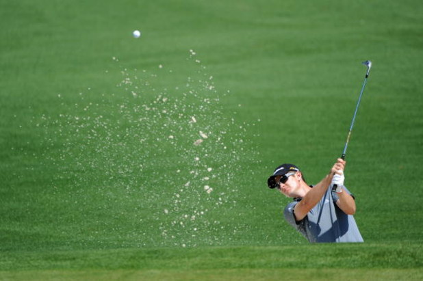 AUGUSTA, GA - APRIL 11:  Justin Rose of England plays a bunker shot on the second hole during the third round of the 2009 Masters Tournament at Augusta National Golf Club on April 11, 2009 in Augusta, Georgia.  (Photo by Harry How/Getty Images)