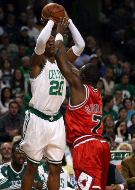 BOSTON - APRIL 20:  Ray Allen #20 of the Boston Celtics takes a shot as Ben Gordon #7 of the Chicago Bulls defends in Game Two of the Eastern Conference Quarterfinals during the 2009 NBA Playoffs at TD Banknorth Garden on April 20, 2009 in Boston, Massach
