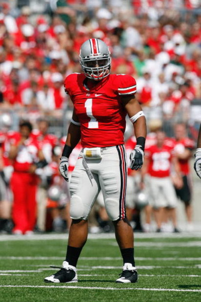 COLUMBUS, OH - SEPTEMBER 06:  Marcus Freeman #1 of the Ohio State Buckeyes walks on the field during the game against the Ohio Bobcats at Ohio Stadium on September 6, 2008 in Columbus, Ohio.  (Photo by Kevin C. Cox/Getty Images)