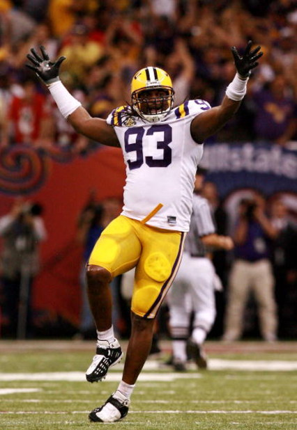 NEW ORLEANS - JANUARY 07:  Tyson Jackson #93 of the Louisiana State University Tigers celebrates during the AllState BCS National Championship against the Ohio State Buckeyes on January 7, 2008 at the Louisiana Superdome in New Orleans, Louisiana.  (Photo