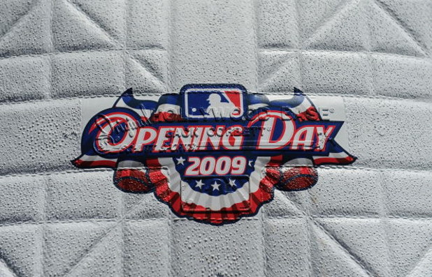 ARLINGTON, TX - APRIL 6:  The 'Opening Day 2009' logo is seen on a base before a game between the Cleveland Indians and the Texas Rangers during the home opener at Rangers Ballpark April 6, 2009 in Arlington, Texas.  (Photo by Ronald Martinez/Getty Images