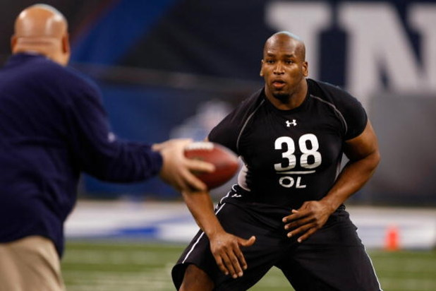INDIANAPOLIS, IN - FEBRUARY 21:  Offensive lineman Eugene Monroe of Virginia participates in practice drills during the NFL Scouting Combine presented by Under Armour at Lucas Oil Stadium on February 21, 2009 in Indianapolis, Indiana. (Photo by Scott Boeh