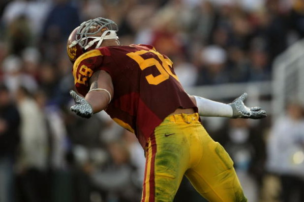 PASADENA, CA - JANUARY 01:  Rey Maualuga #58 of the USC Trojans yells during the second half against the Penn State Nittany Lions during the 95th Rose Bowl Game presented by Citi on January 1, 2009 at the Rose Bowl in Pasadena, California.  (Photo by Step