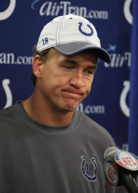 SAN DIEGO - JANUARY 03:  Quarterback Peyton Manning #18 of the Indianapolis Colts speaks to members of the media after being defeated by the San Diego Chargers 23-17 in the AFC Wild Card Game on January 3, 2009 at Qualcomm Stadium in San Diego, California
